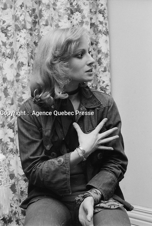 Veronique Samson au Quebec en 1973 (Date exacte inconnue)<br /> <br /> PHOTO : Agence Quebec Presse
