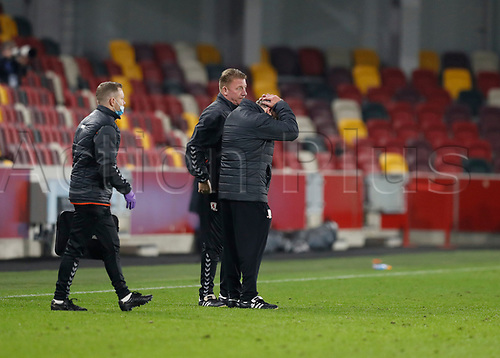 7th November 2020; Brentford Community Stadium, London, England; English Football League Championship Football, Brentford FC versus Middlesbrough; Middlesbrough Manager Neil Warnock reacting in disappointment by putting his hands on his head after full time
