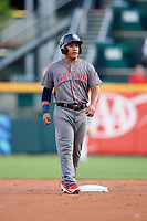 Lehigh Valley IronPigs second baseman Heiker Meneses (3) during a game against the Buffalo Bisons on June 23, 2018 at Coca-Cola Field in Buffalo, New York.  Lehigh Valley defeated Buffalo 4-1.  (Mike Janes/Four Seam Images)