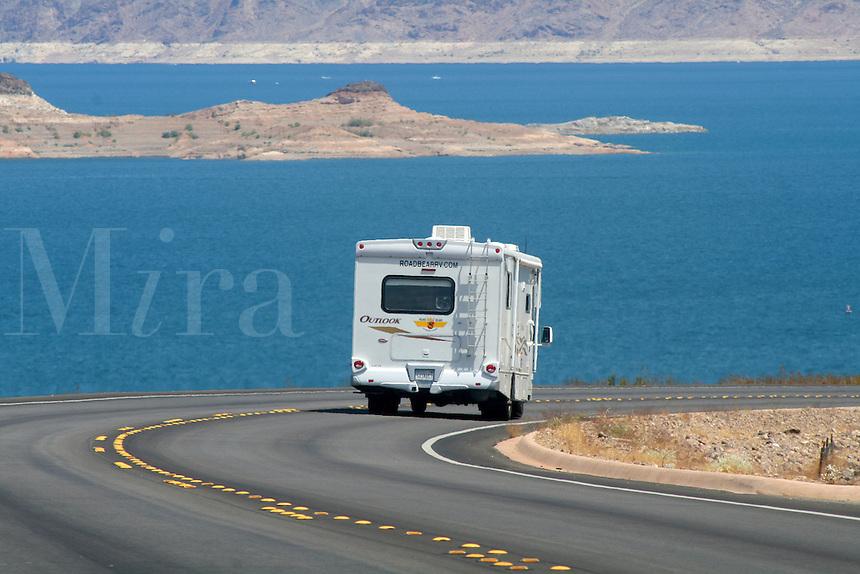 Motorhome on highway at Lake Mead National Recreation near Las Vegas Area Nevada