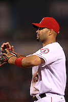 Albert Pujols #5 of the Los Angeles Angels in the field during a game against the Baltimore Orioles at Angel Stadium on April 20, 2012 in Anaheim,California. Los Angeles defeated Baltimore 6-3.(Larry Goren/Four Seam Images)
