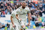 Real Madrid's Karim Benzema celebrates goal during La Liga match between Real Madrid and SD Eibar at Santiago Bernabeu Stadium in Madrid, Spain.April 06, 2019. (ALTERPHOTOS/A. Perez Meca)