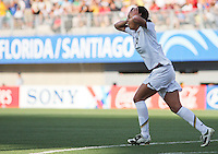 Santiago, Chile: American's player Sydney Lerouxcelebrate a goal against Korea DRP's team during the finals match, of the Fifa U-20 Womens World Cup the at Florida´s Municipal Stadium, on December 07 th, 2008. By Grosnia / ISIphotos.com.