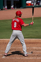 Philadelphia Phillies Travis Jankowski (9) bats during a Major League Spring Training game against the Baltimore Orioles on March 12, 2021 at the Ed Smith Stadium in Sarasota, Florida.  (Mike Janes/Four Seam Images)