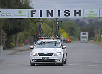 The NZ National team car drives slowly under the finiish banner on the first circuit lap during stage three of the NZ Cycle Classic UCI Oceania Tour (Martinborough circuit) in Wairarapa, New Zealand on Friday, 17 January 2020. Photo: Dave Lintott / lintottphoto.co.nz