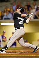 Matt Conway #25 of the Wake Forest Demon Deacons follows through on his swing against the LSU Tigers at Alex Box Stadium on February 18, 2011 in Baton Rouge, Louisiana.  The Tigers defeated the Demon Deacons 15-4.  Photo by Brian Westerholt / Four Seam Images