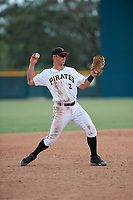 Pittsburgh Pirates Hunter Owen (2) throws to first base during an Instructional League game against the Detroit Tigers on October 6, 2017 at Pirate City in Bradenton, Florida.  (Mike Janes/Four Seam Images)