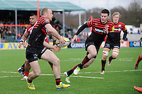 20130303 Copyright onEdition 2013©.Free for editorial use image, please credit: onEdition..James Short of Saracens passes inside to Duncan Taylor during the Premiership Rugby match between Saracens and London Welsh at Allianz Park on Sunday 3rd March 2013 (Photo by Rob Munro)..For press contacts contact: Sam Feasey at brandRapport on M: +44 (0)7717 757114 E: SFeasey@brand-rapport.com..If you require a higher resolution image or you have any other onEdition photographic enquiries, please contact onEdition on 0845 900 2 900 or email info@onEdition.com.This image is copyright onEdition 2013©..This image has been supplied by onEdition and must be credited onEdition. The author is asserting his full Moral rights in relation to the publication of this image. Rights for onward transmission of any image or file is not granted or implied. Changing or deleting Copyright information is illegal as specified in the Copyright, Design and Patents Act 1988. If you are in any way unsure of your right to publish this image please contact onEdition on 0845 900 2 900 or email info@onEdition.com