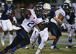 Boise State's Jay Ajayi (27) runs against Nevada's Alex Bertrando (56) during the second half of an NCAA college football game in Reno, Nev., on Saturday, Oct. 4, 2014. Boise State won 51-46. (AP Photo/Cathleen Allison)