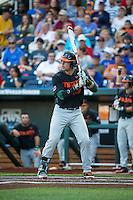 Garrett Kennedy (40) of the Miami Hurricanes bats during a game between the Miami Hurricanes and Florida Gators at TD Ameritrade Park on June 13, 2015 in Omaha, Nebraska. (Brace Hemmelgarn/Four Seam Images)