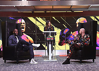 """LOS ANGELES - JANUARY 25: Heidi Androl interviews Deontay Wilder and Tyson Fury during a Los Angeles press conference on January 25, 2020 for the """"Wilder vs Fury II"""" FOX SPORTS PPV & ESPN+ PPV which will take place on Feb. 22 from the MGM Grand Garden Arena in Las Vegas. (Photo by Frank Micelotta/Fox Sports/PictureGroup)"""
