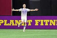 ATLANTA, GA - AUGUST 29: Chris Mueller #9 of Orlando City celebrates his goal during a game between Orlando City SC and Atlanta United FC at Marecedes-Benz Stadium on August 29, 2020 in Atlanta, Georgia.