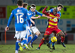 St Johnstone v Partick Thistle…02.03.16  SPFL McDiarmid Park, Perth<br />Mathias Pogba holds off Joe Shaughnessy and Murray Davidson<br />Picture by Graeme Hart.<br />Copyright Perthshire Picture Agency<br />Tel: 01738 623350  Mobile: 07990 594431