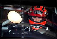 Feb 20, 2009; Fontana, CA, USA; NASCAR Sprint Cup Series driver Jeff Gordon during practice for the Auto Club 500 at Auto Club Speedway. Mandatory Credit: Mark J. Rebilas-