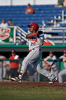 Auburn Doubledays catcher Israel Pineda (20) follows through on a swing during a game against the Batavia Muckdogs on June 28, 2018 at Dwyer Stadium in Batavia, New York.  Auburn defeated Batavia 14-9.  (Mike Janes/Four Seam Images)