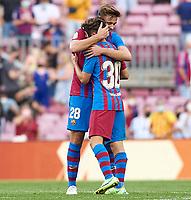 29th August 2021; Nou Camp, Barcelona, Spain; La Liga football league, FC Barcelona versus Getafe; Gavi and Nico of FC Barcelona celebrate