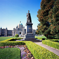 Victoria, BC, Vancouver Island, British Columbia, Canada - BC Parliament Buildings with Statue of Queen Victoria