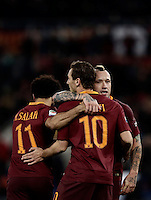 Calcio, Serie A: Roma, stadio Olimpico, 19 febbraio 2017.<br /> Roma's Radja Nainggolan (r) celebrates with his teammates Mohamed Salah (l) and Francesco Totti (c) after scoring during the Italian Serie A football match between As Roma and Torino at Rome's Olympic stadium, on February 19, 2017.<br /> UPDATE IMAGES PRESS/Isabella Bonotto