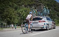 Alexis Vuillermoz (FRA/AG2R-La Mondiale) pacing back to the breakaway group after a pitstop<br /> <br /> stage 7: Aoste > Alpe d'Huez (168km)<br /> 69th Critérium du Dauphiné 2017