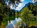 Deutschland, Bayern, Chiemgau, bei Ruhpolding: ein idyllisches Plaetchen am Taubensee, dahinter die Chiemgauer Alpen | Germany, Bavaria, Chiemgau, near Ruhpolding: idyllic spot at lake Taubensee and Chiemgau Alps