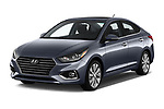 2018 Hyundai Accent Limited 4 Door Sedan angular front stock photos of front three quarter view