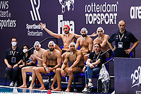 20-02-2021: Waterpolo: France v Canada: Rotterdam<br /> <br /> ROTTERDAM, NETHERLANDS - FEBRUARY 20: Team France during the Olympic Waterpolo Qualification Tournament 2021 match between France and Canada at Zwemcentrum Rotterdam on February 20, 2021 in Rotterdam, Netherlands (Photo by Marcel ter Bals/Orange Pictures)