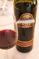 In the Sheraton Hotel Restaurant Bottle and glass of Santa Julia Roble Tempranillo Mendoza, Argentina, South America