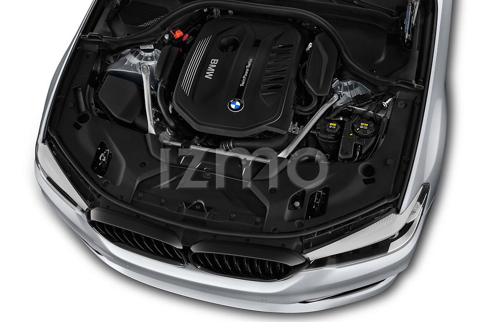 Car stock 2018 BMW 5 Series 540i Sport Line 4 Door Sedan engine high angle detail view