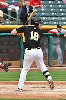 Zach Borenstein (18) of the Salt Lake Bees at bat against the Memphis Redbirds at Smith's Ballpark on June 18, 2014 in Salt Lake City, Utah.  (Stephen Smith/Four Seam Images)