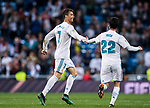 Cristiano Ronaldo of Real Madrid celebrates with teammate Isco Alarcon during the La Liga 2017-18 match between Real Madrid and Athletic Club Bilbao at Estadio Santiago Bernabeu on April 18 2018 in Madrid, Spain. Photo by Diego Souto / Power Sport Images