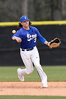 Second baseman Kyle Watkins (3) of the Spartanburg Methodist College Pioneers throws out a runner in a game against Southeastern Community College on Wednesday, March 28, 2018, at Mooneyham Field in Spartanburg, South Carolina. (Tom Priddy/Four Seam Images)