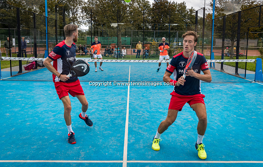 Netherlands, September 6,  2020, Amsterdam, Padel Dam, NK Padel, National Padel Championships, men's semifinal, Sten Richters (NED) and Robin Sietsma (NED) (L)<br /> Photo: Henk Koster/tennisimages.com