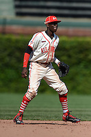 Shortstop Nick Gordon (5) of Olympia High School in Orlando, Florida during the Under Armour All-American Game on August 24, 2013 at Wrigley Field in Chicago, Illinois.  (Mike Janes/Four Seam Images)