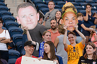 Bridgeview, IL, USA - Sunday, May 29, 2016: Sky Blue FC fans after a regular season National Women's Soccer League match between the Chicago Red Stars and Sky Blue FC at Toyota Park. The game ended in a 1-1 tie.