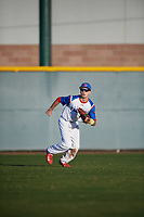 John Tyler Jimenez (8) of Half Hollow Hills West High School in Deer Park, New York during the Baseball Factory All-America Pre-Season Tournament, powered by Under Armour, on January 13, 2018 at Sloan Park Complex in Mesa, Arizona.  (Mike Janes/Four Seam Images)