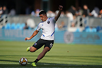 SAN JOSE, CA - SEPTEMBER 29: Cristian Espinoza #10 of the San Jose Earthquakes during warmups prior to a Major League Soccer (MLS) match between the San Jose Earthquakes and the Seattle Sounders on September 29, 2019 at Avaya Stadium in San Jose, California.