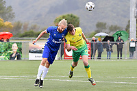 George Ott of Lower Hutt AFC competes for the ball with Jake Harris of Petone FC during the Central League Football - Petone FC v Lower Hutt AFC at Petone Memorial Park, Lower Hutt, New Zealand on Friday 2 April 2021.<br /> Copyright photo: Masanori Udagawa /  www.photosport.nz