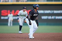 Yermin Mercedes (24) of the Charlotte Knights takes his lead off of second base against the Gwinnett Stripers at Truist Field on July 15, 2021 in Charlotte, North Carolina. (Brian Westerholt/Four Seam Images)