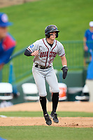 Quad Cities River Bandits Nick Loftin (2) leads off first base during a game against the South Bend Cubs on August 20, 2021 at Four Winds Field in South Bend, Indiana.  (Mike Janes/Four Seam Images)