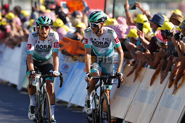 Lukas Postlberger and Felix Grossschartner (AUT) Bora-Hansgrohe cross the finish line at the end of Stage 10 of Tour de France 2020, running 168.5km from Ile d'Oléron to Ile de Ré, France. 8th September 2020.<br /> Picture: Bora-Hansgrohe/BettiniPhoto | Cyclefile<br /> All photos usage must carry mandatory copyright credit (© Cyclefile | Bora-Hansgrohe/BettiniPhoto)