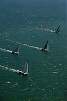 aerial photograph of the Rolex Big Boat Series sailboat regatta, San Francisco bay, California, 2011