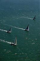 aerial photograph of the Rolex Big Boat Series sailboat regatta, San Francisco bay, California, 2011