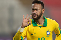 13th October 2020; National Stadium of Peru, Lima, Peru; FIFA World Cup 2022 qualifying; Peru versus Brazil;  Neymar of Brazil celebrates his third goal in the 94th minute 2-4
