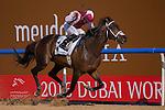 DUBAI,UNITED ARAB EMIRATES-MARCH 26: One Man Band,ridden by Sam Hitchcott,wins the Godolphin Mile at Meydan Racecourse on March 26,2016 in Dubai,UAE (Photo by Kaz Ishida)