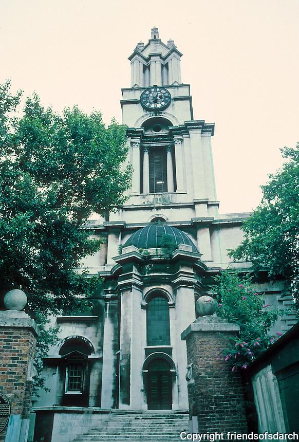 Nicholas Hawksmoor: St. Anne's Limehouse, London 1714-30. Photo '87. Restoration by Julius Harrap.