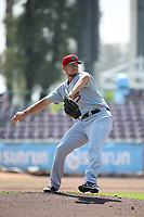 Ryan Atkinson (14) of the Visalia Rawhide pitches against the Inland Empire 66ers at San Manuel Stadium on June 5, 2017 in San Bernardino, California. Visalia defeated Inland Empire, 9-1. (Larry Goren/Four Seam Images)