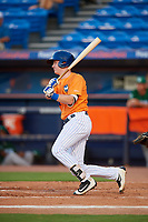 St. Lucie Mets designated hitter Dan Rizzie (40) follows through on a swing during a game against the Daytona Tortugas on August 3, 2018 at First Data Field in Port St. Lucie, Florida.  Daytona defeated St. Lucie 3-2.  (Mike Janes/Four Seam Images)