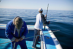 A fisherman prepares a harpoon while fishing for blue fin tuna on the Gulf of St. Lawrence near North Rustico, Prince Edward Island, Canada.