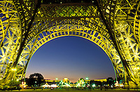 France, Paris, Eiffel Tower illuminated, low angle view