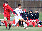WINSTED CT. - 17 November 2020-111720SV04-#15 Curtiss Blische of Northwestern and #10 Henry Lopez-Gonzalezof Housatonic battle for the ball during Berkshire League boy's soccer tournament action in Winsted Tuesday.<br /> Steven Valenti Republican-American
